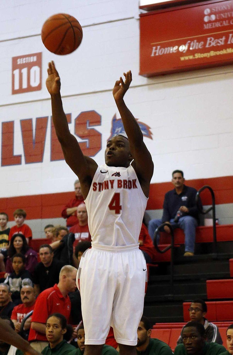 Stony Brook's Anthony Jackson scores from three point