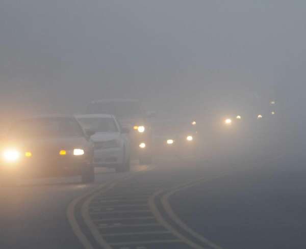 Foggy conditions along Sills Road in Yaphank Monday