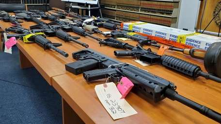 Illegal weapons that were seized on display at