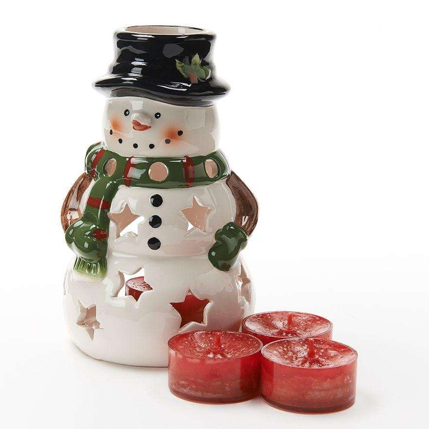 The Yankee Candle 5-Piece Sparkling Cinnamon Snowman Candleholder