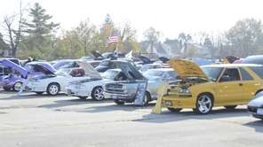 Cars are ready to be judged at the