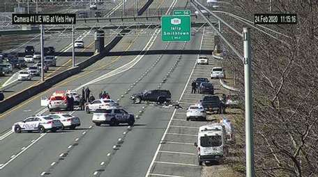 A crash on the westbound Long Island Expressway