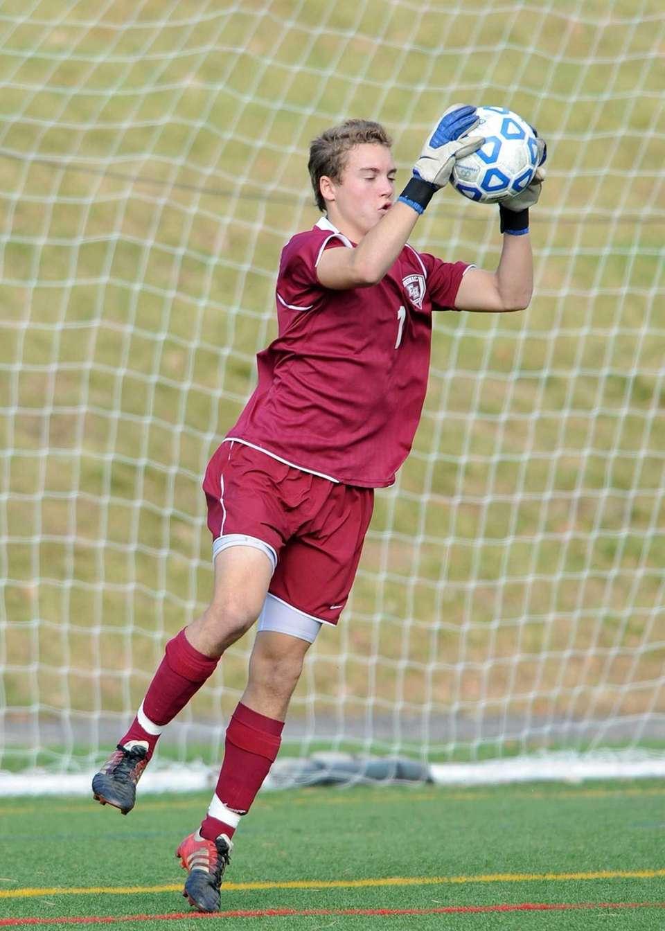 East Hampton keeper Nick Tulp makes one of