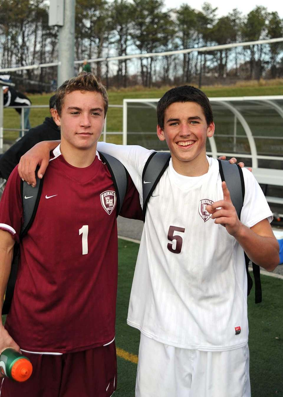 East Hampton's Nicholas West and goalkeeper Nick Tulp