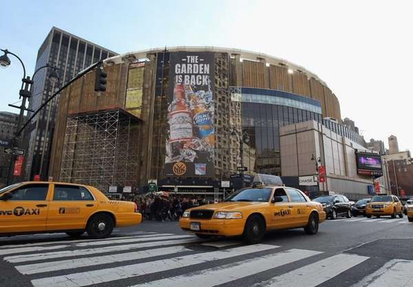 An exterior view of Madison Square Garden prior