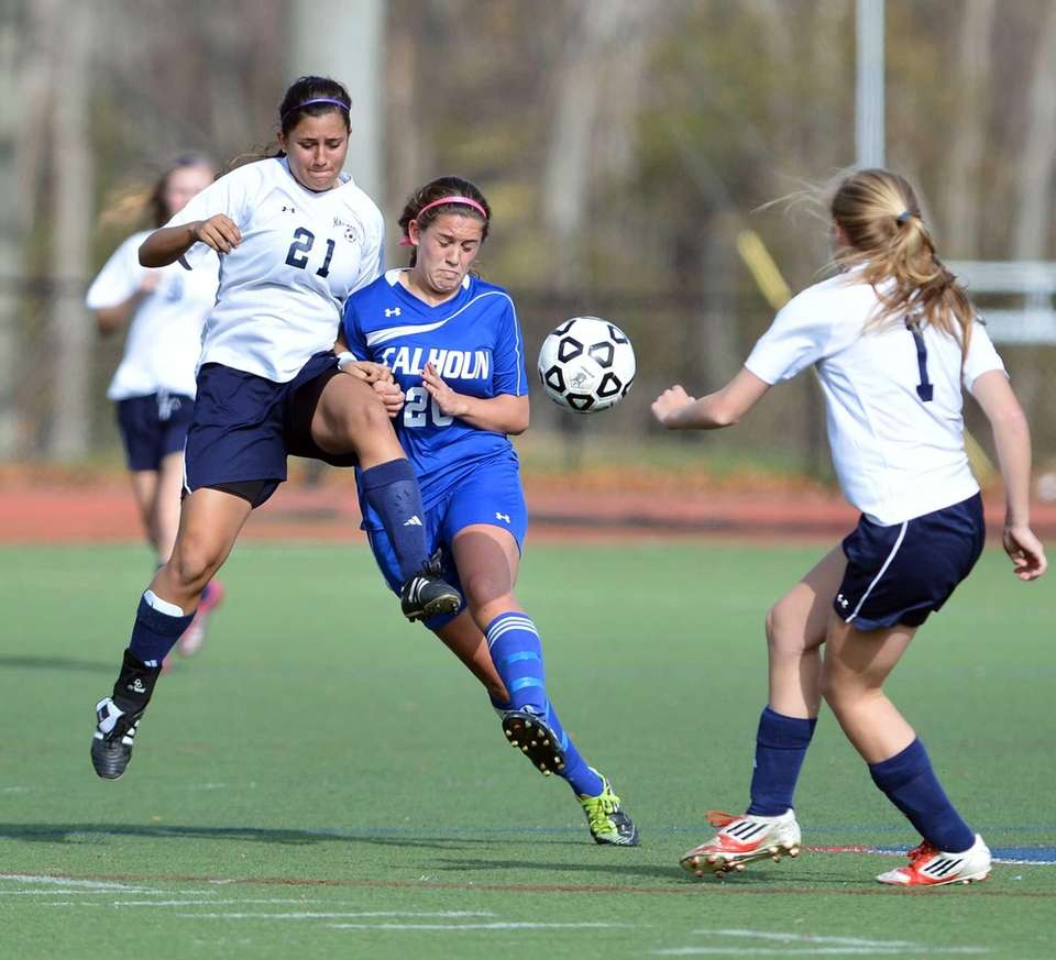 Massapequa's Tori Maley, Calhoun's Michelle Iacono and Massapequa's