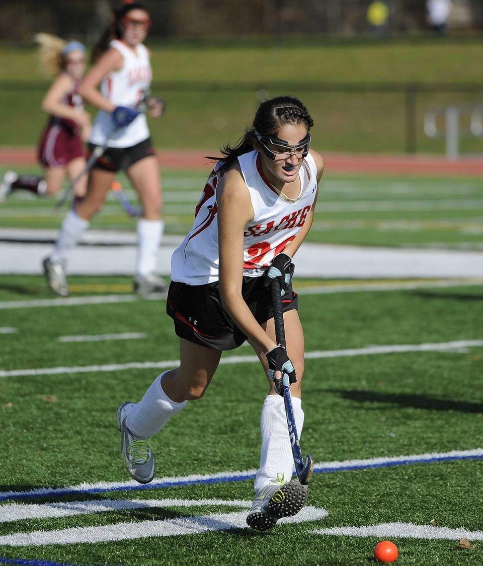 Sachem East's Katie Shanahan controls the ball against