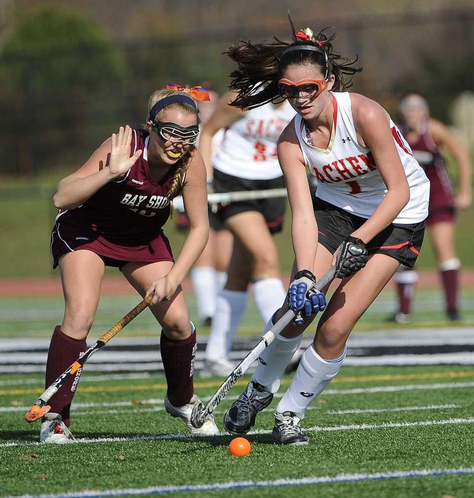 Sachem East's Katie Trombetta controls the ball ahead