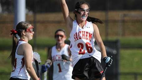 Sachem East's Katie Shanahan reacts after scoring in