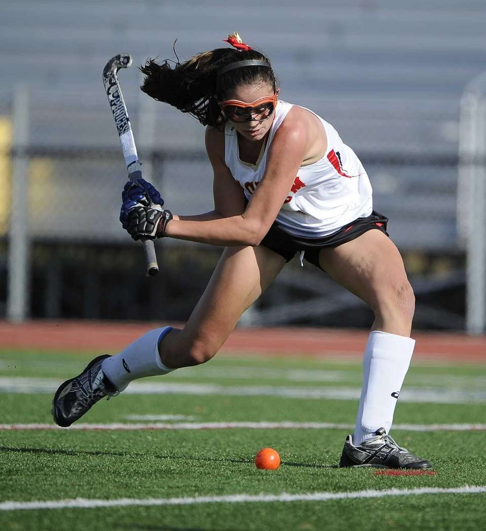 Sachem East's Katie Trombetta controls the ball against
