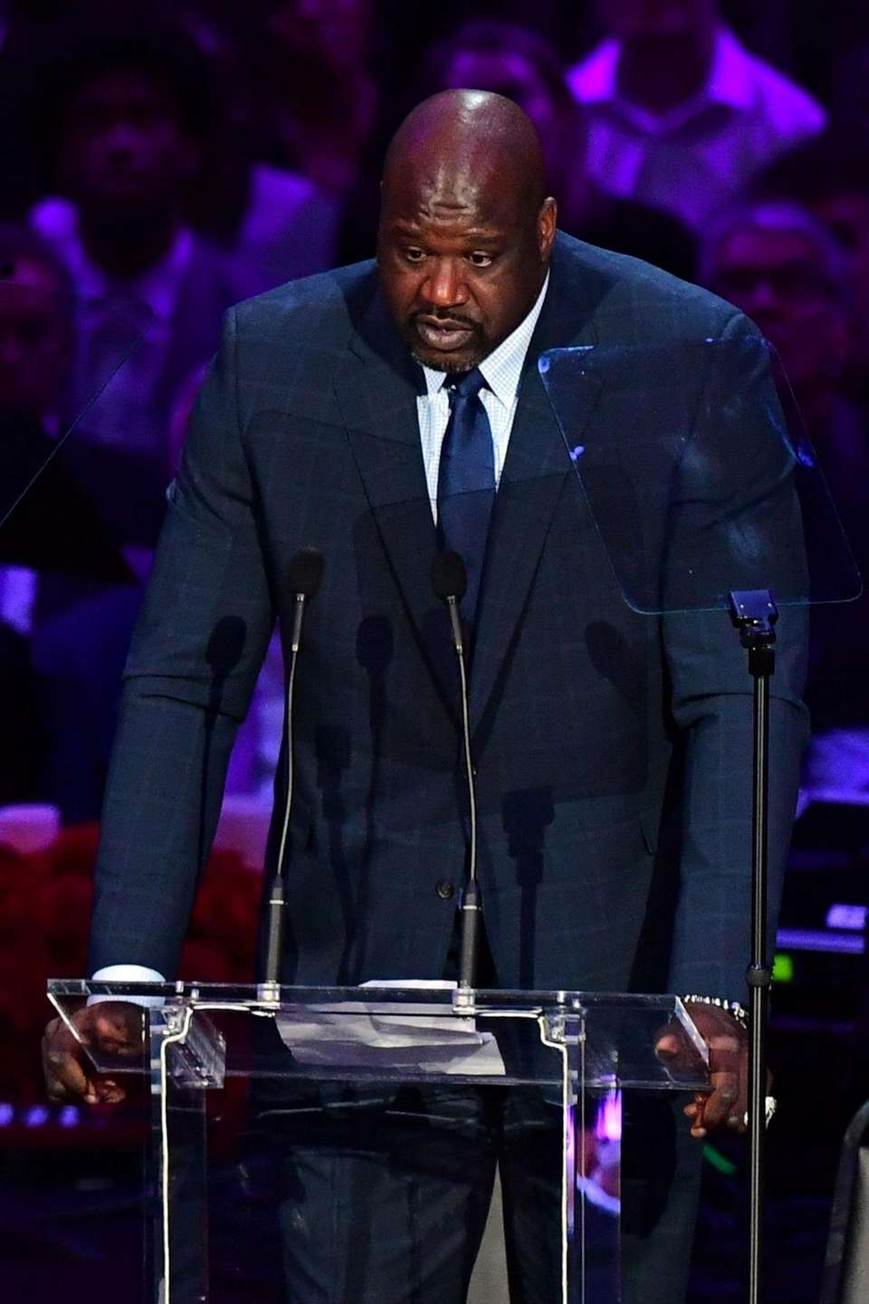 Retired US basketball player Shaquille O'Neal speaks during