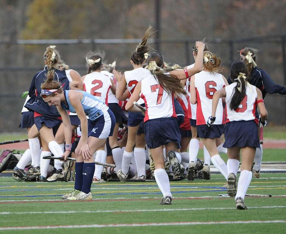Miller Place celebrates their 1-0 win as Rocky