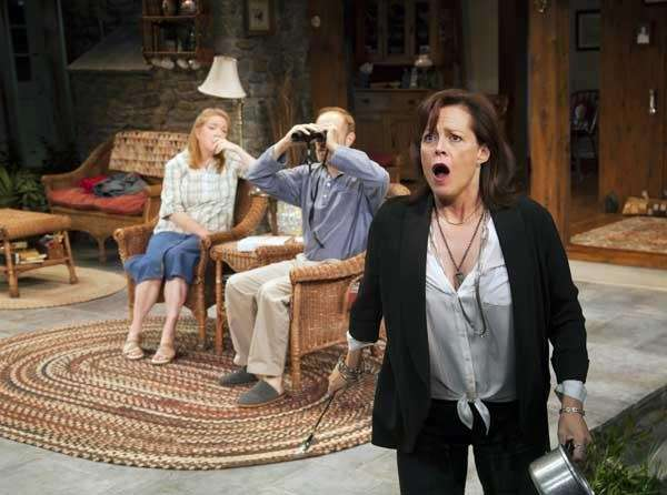 "Sigourney Weaver, right, during a performance of ""Vanya"
