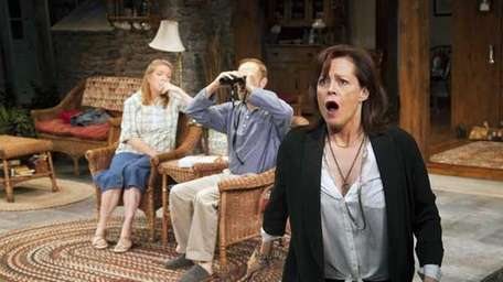 Sigourney Weaver, right, during a performance of