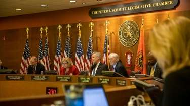 The Nassau County Legislature meets earlier this month.