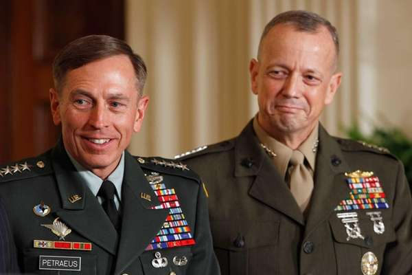 U.S. Army Gen. David Petraeus, left, and Marine