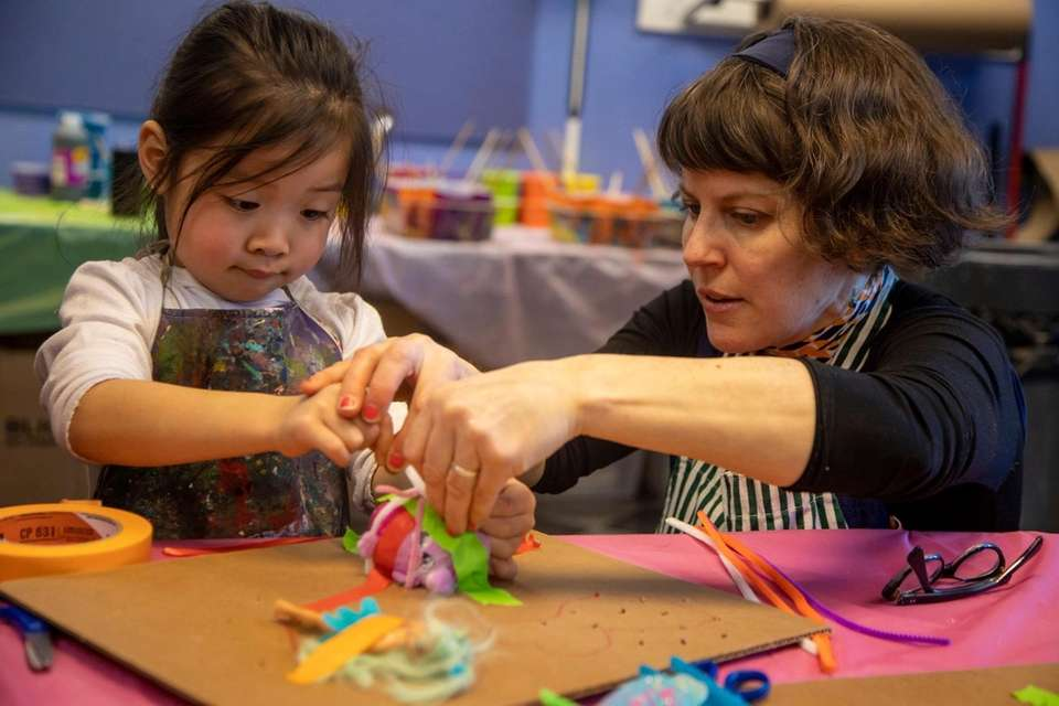 Harper Liao, 4, Brooklyn,works with artist Julie Peppito