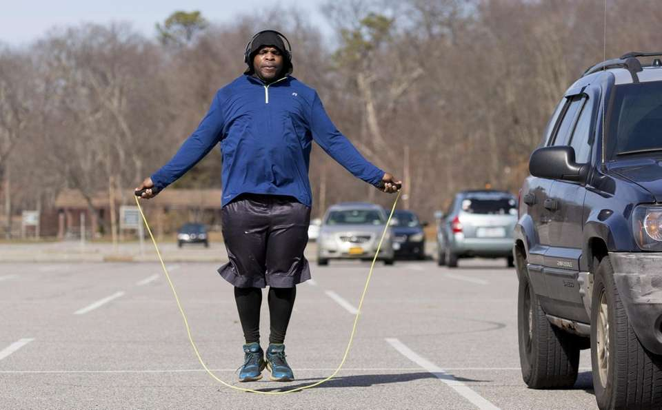 Cory Williams of Wyandanch, 30, jumps rope in