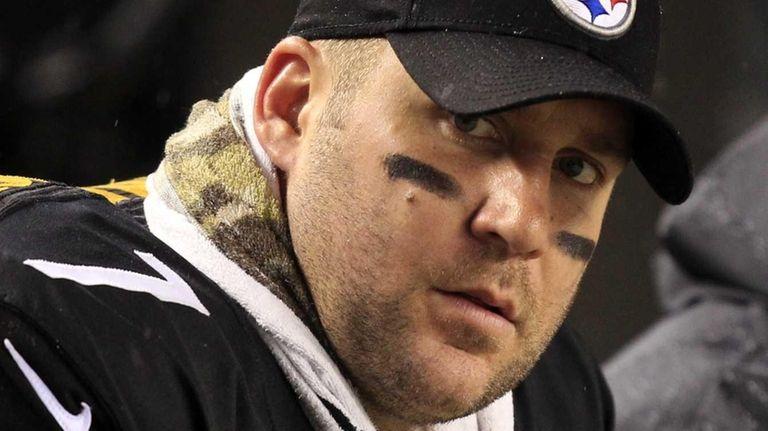 Pittsburgh Steelers quarterback Ben Roethlisberger sits on the