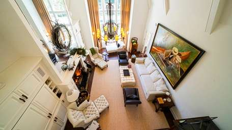 The East Hampton home's great room, seen from