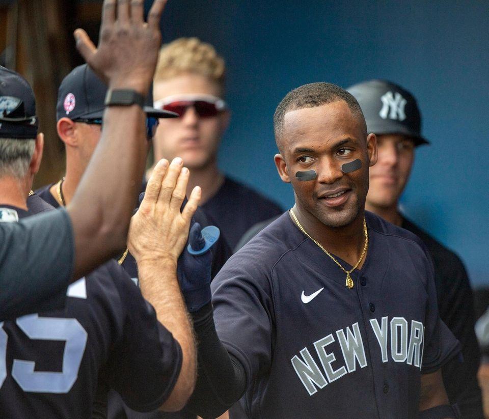 New York Yankees' third baseman Miguel Andujar gets