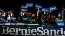 Supporters of Democratic presidential candidate Sen. Bernie Sanders,