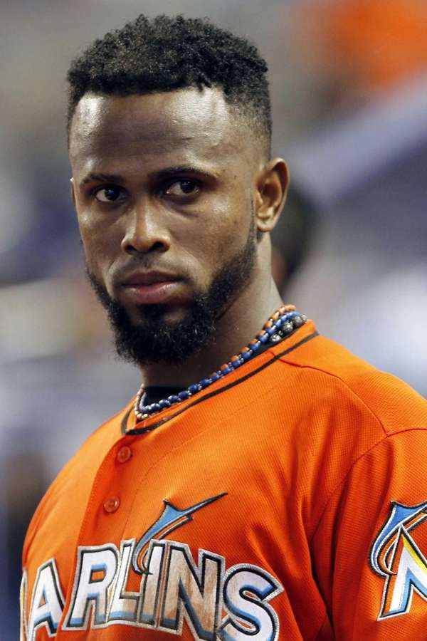 Miami Marlins shortstop Jose Reyes appears in the