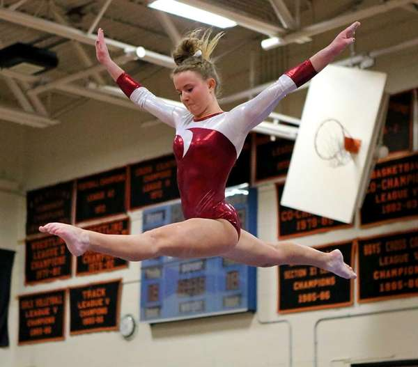 Bay Shore's Olivia O'Connor performs on the balance