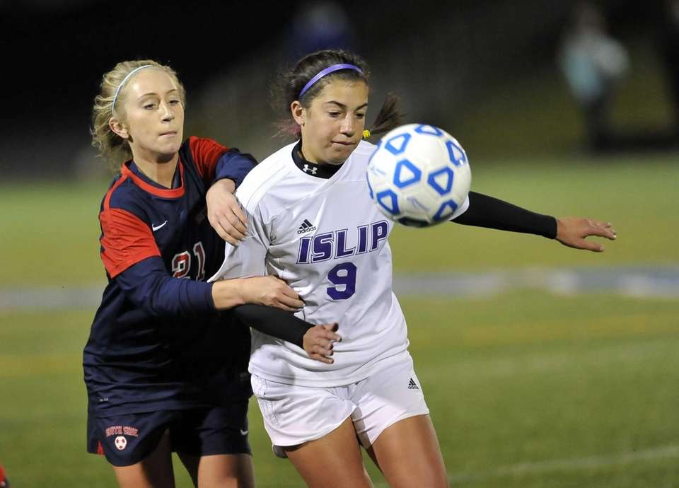 South Side's Christina Klaum and Islip's Cristina Rizzo