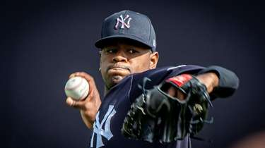 Yankees pitcher Luis Severino throws during spring training