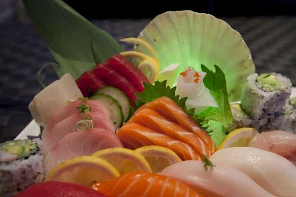 A quot;Sushi Sashimi Dinner Platterquot; is served at