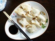 Pan-fried pork-shrimp-chive dumplings can also be ordered pan