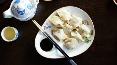 Pan-fried pork-shrimp-chive dumplings at Zouji Dumpling House in