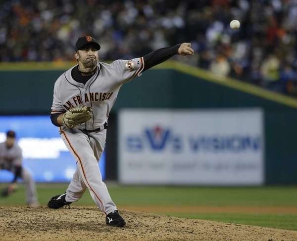 San Francisco Giants pitcher Jeremy Affeldt delivers a