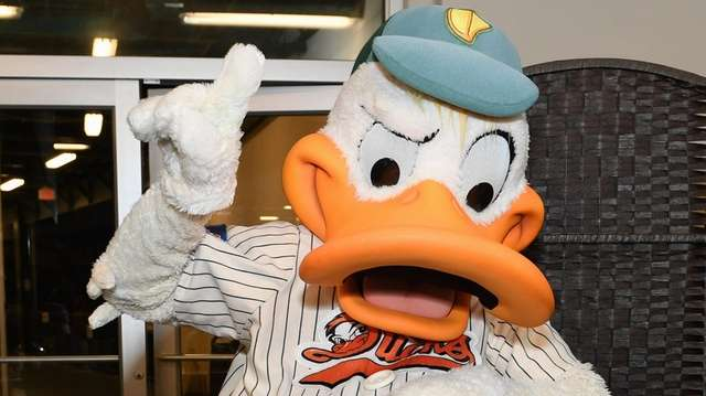 Long Island Ducks mascot QuackerJack in 2019.