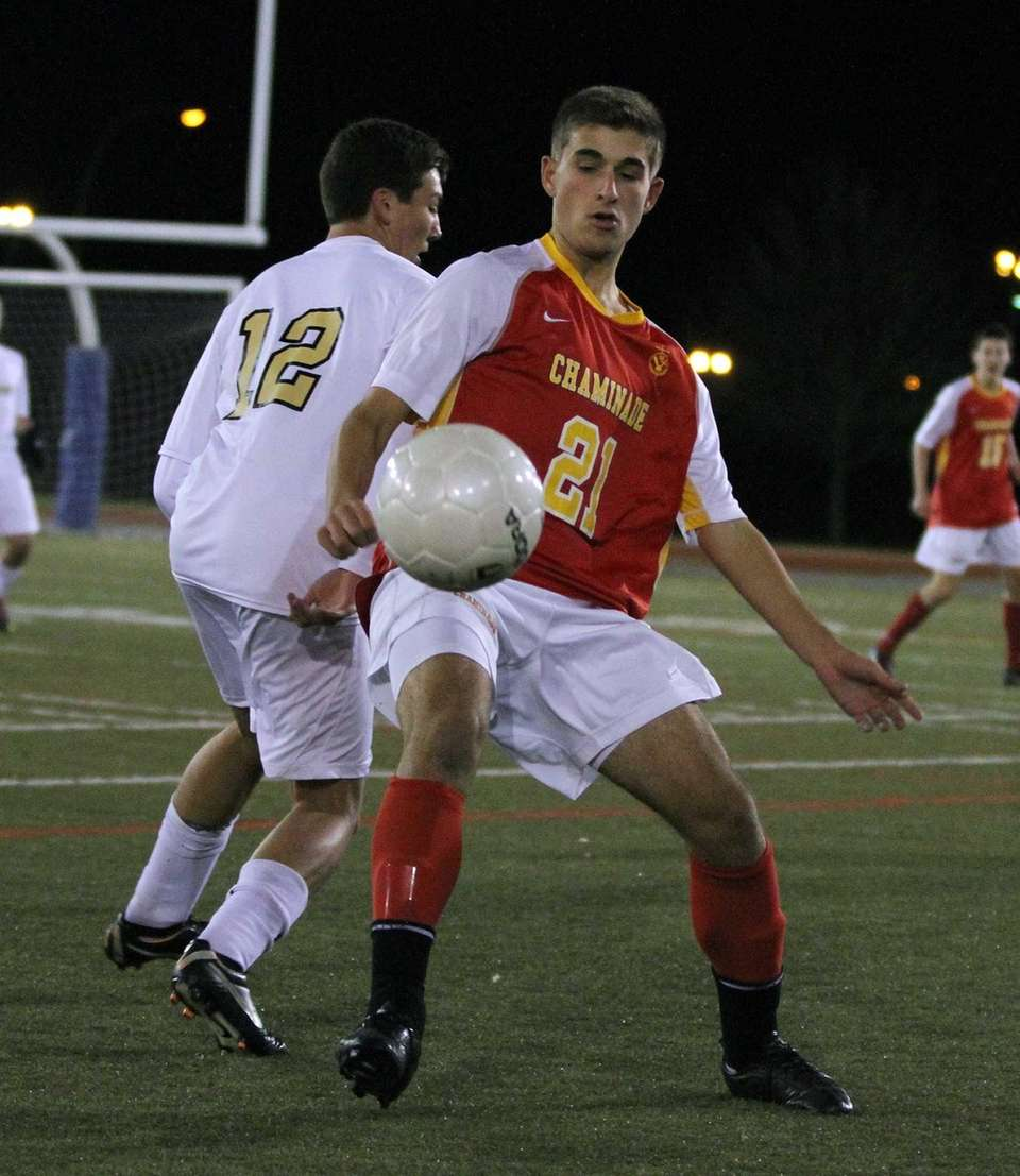 Chaminade's Hunter Frey controls the ball during the