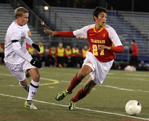 Chaminade's Jake Serrano looks to control the ball