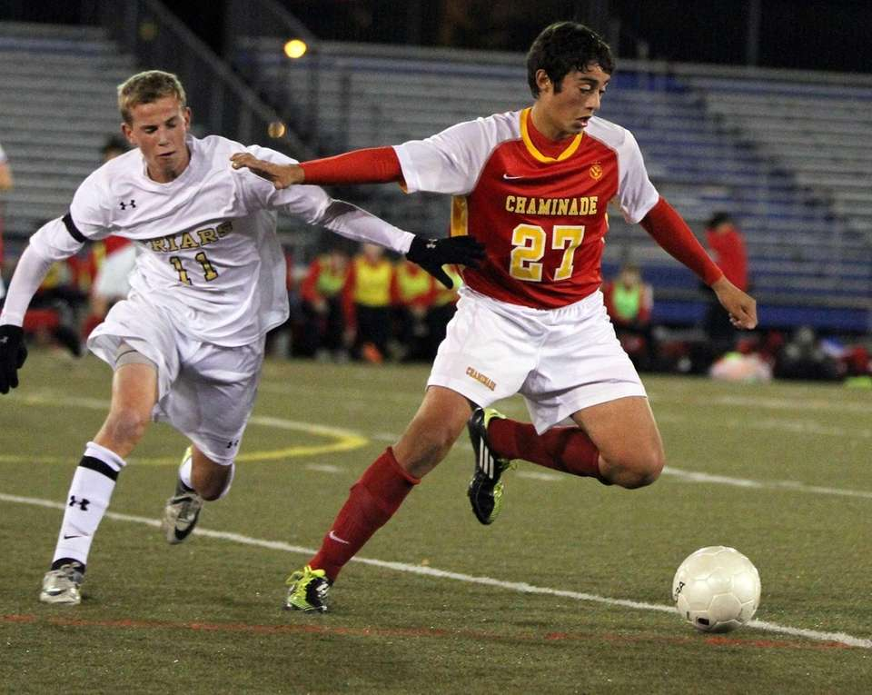 Chaminade's Jake Serrano controls the ball during the