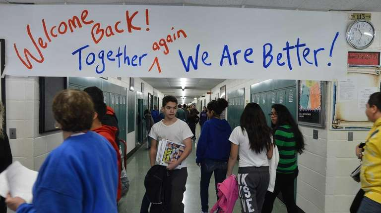 A banner welcoming students back again greeted the