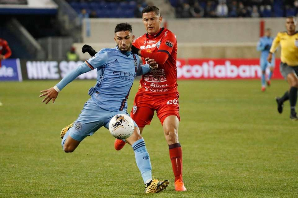New York City FC midfielder Valentin Castellanos, left,