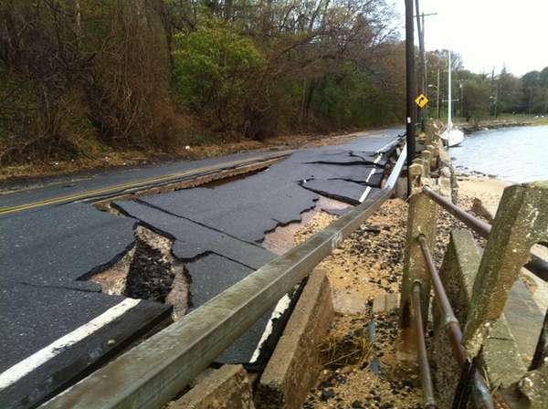 West Shore Road in Mill Neck was damaged