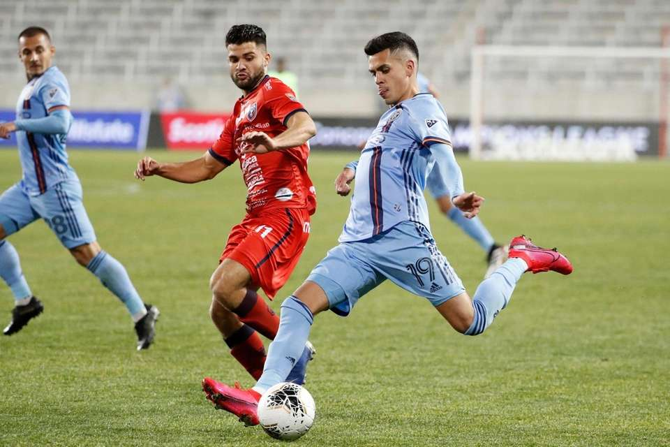 New York City FC forward Jesus Medina goes