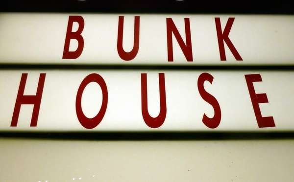 A sign outside the Bunk House lounge in