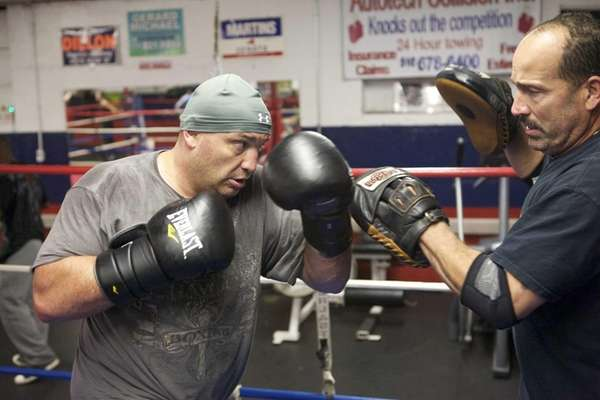 Heavyweight boxer Nick Argyris trains at the Westbury