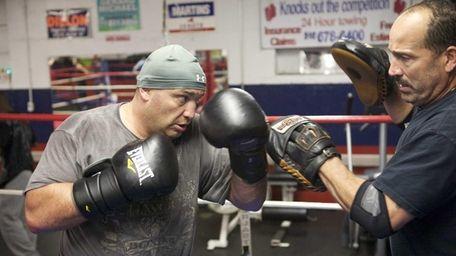 Heavyweight boxer Nick Argyris trains at the Westbury