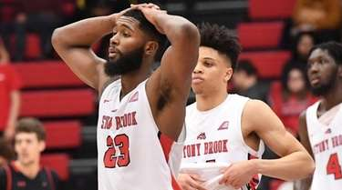 Stony Brook guard Andrew Garcia and teammates react