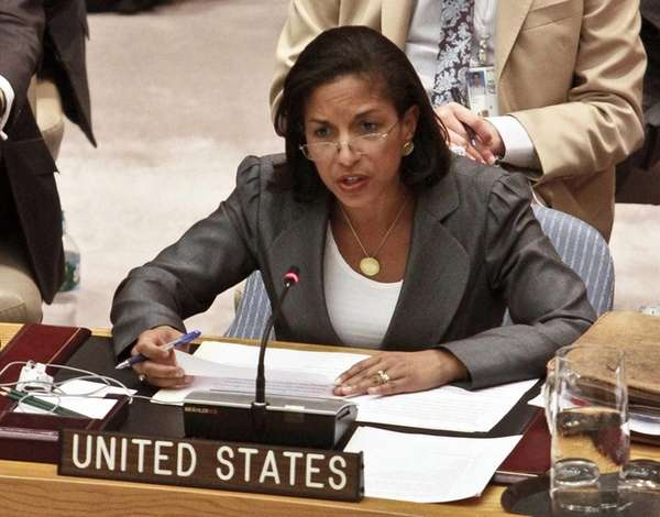 United Nations Ambassador Susan Rice speaking at the