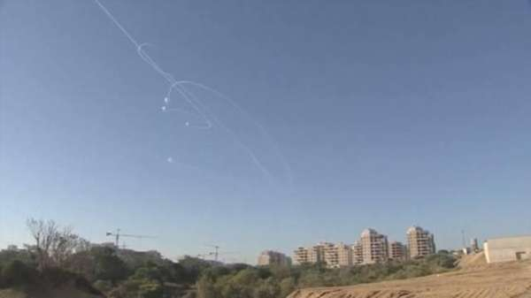 Palestinian militants barraged Israel with nearly 150 rockets