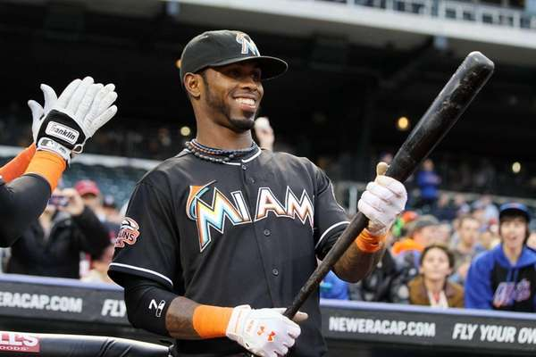 Jose Reyes of the Miami Marlins looks on