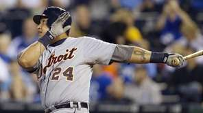 Detroit Tigers third baseman Miguel Cabrera flies out